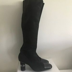 Chanel black stretch suede patent toe 36.5 boots